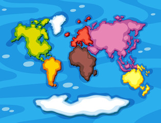 Worldmap in different color continents