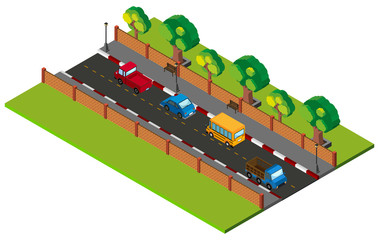 3D design for road scene with cars on road