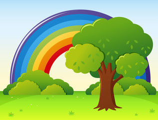 Door stickers Rainbow Rainbow field with tree in park