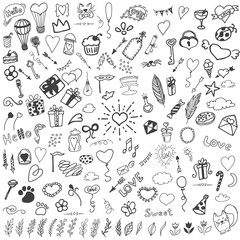 Sketchy vector hand drawn doodles cartoon set of Love and Valentine's Day objects and symbols.  Good for birthday invitation card design and other.