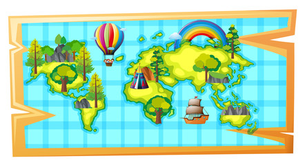 Worldmap with ship and balloon