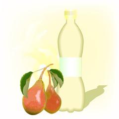 бутылка с грушовым соком на светлом фоне, векторная иллюстрация