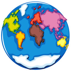 Eearth globe and countries on white