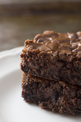 Homemade brownies with chocolate chips