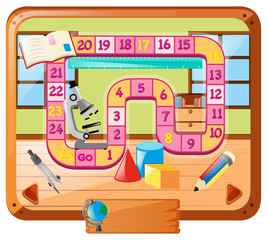 Boardgame template with school objects
