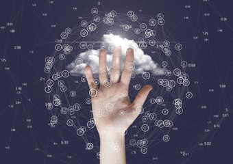 Hand touching connecting model against cloud