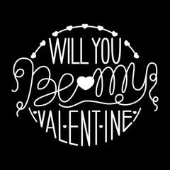 Inscription - Valentine's Day. Lettering design. Handwritten typography. Vector