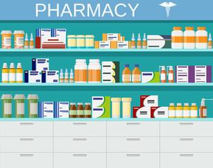 Modern interior pharmacy and drugstore.