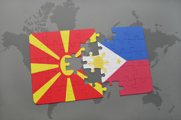 puzzle with the national flag of macedonia and philippines on a world map