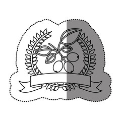 monochrome sticker with olive crown with ribbon and cofee tree branch . Vector illustration