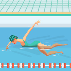 Young woman in sports swimsuit swims in the pool front crawl sty