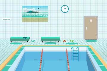 Public swimming pool inside with blue water. Flat cartoon vector