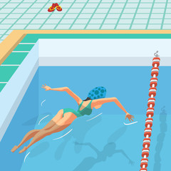Young woman in sports swimsuit swims in the pool front butterfly