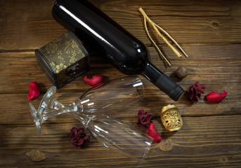 Valentine's day decoration with wine