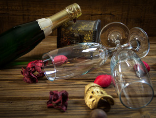 Valentine's day decoration with champagne