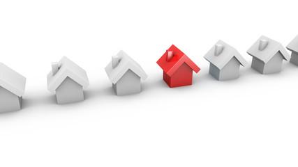 Häuser in einer Reihe - Konzept Wohnen, Bauen, Finanzieren