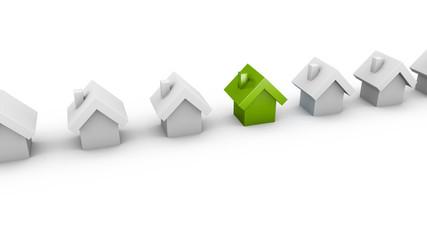 Extravagantes Haus in einer Reihe - Konzept Bausparen, Kapitalanlage, Eigentum