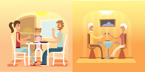 Family holiday cartoon concepts. Mom, dad, son, daughter at dinner.