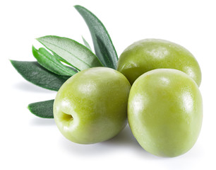 Olive fruit and olive leaves.