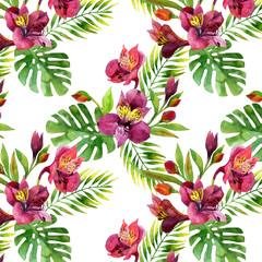 Watercolor Alstroemeria  flowers seamless pattern.