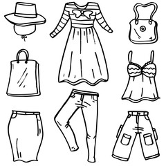Doodle of clothes and accessories set women