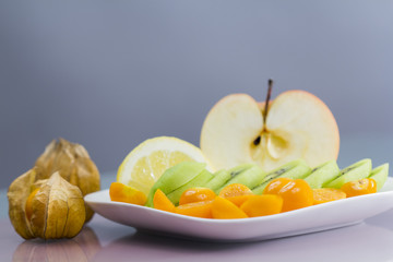 Fruit arrangement with colorful background
