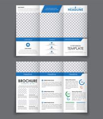 Design triple brochure with blue elements.