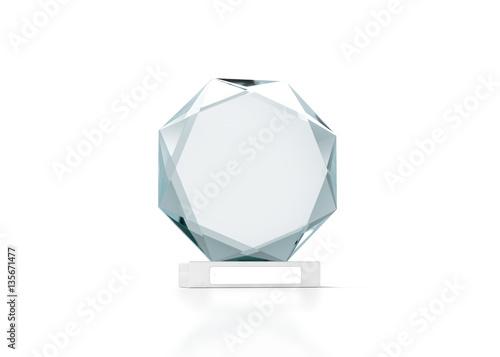 blank round glass trophy mockup 3d rendering empty acrylic award design mock up transparent. Black Bedroom Furniture Sets. Home Design Ideas