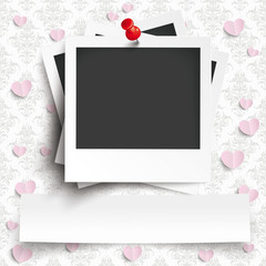 Batched Instant Photos Banner Hearts Ornaments Wallpaper