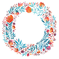 Watercolor ornate flowers wreath