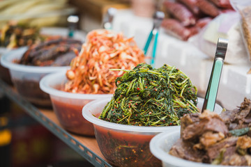 Traditional Korean meals of vegetables in the Asian market.