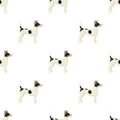 Dog collection Toy Fox Terrier Geometric style Seamless pattern
