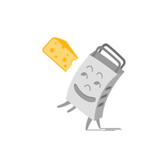 Grater and cheese to grate. Kitchenware cooking utensil illustration. Freehand drawn cartoon cute style. Kitchen tool symbol for grating product. Design vector element of home food preparation process