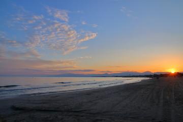 Sunset over the Spanish coast.