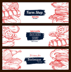Butchery shop meat sausages banners sketch set