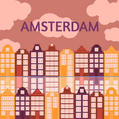 Amsterdam city flat line art. Travel landmark, architecture of netherlands, Holland houses, european building isolated set,