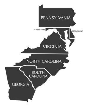 Pennsylvania - Maryland - Delaware - Virginia - North and South Caronlina Map labelled black