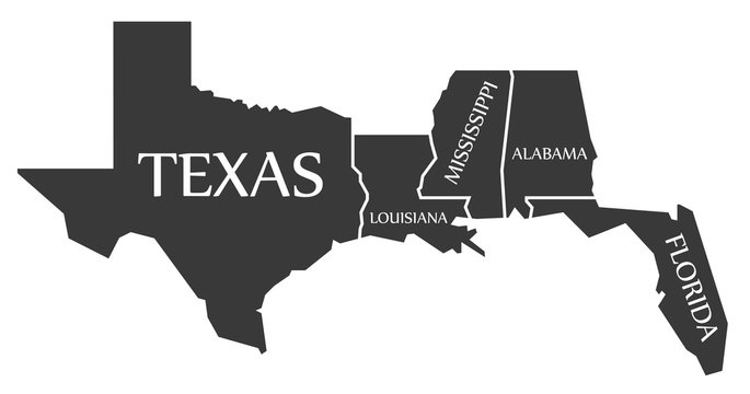 Texas - Louisiana - Mississippi - Alabama - Florida Map labelled black