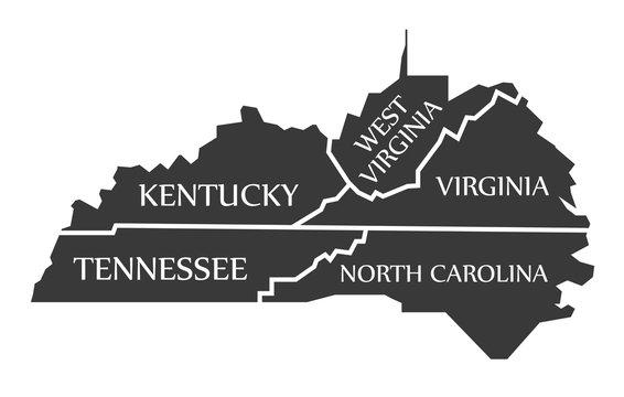 Kentucky - Tennessee - West Virginia - Virginia - North Carolina Map labelled black