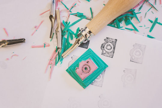 Camera icon rubber stamp making
