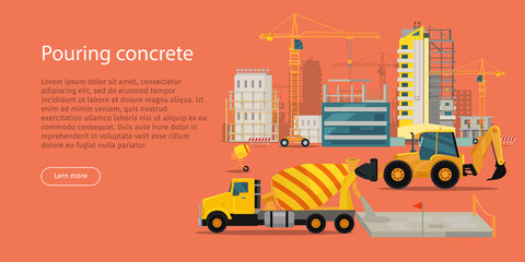 Process of Pouring Concrete Web Banner. Vector