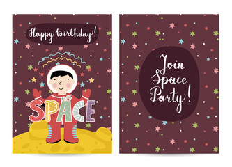 Happy birthday cartoon greeting card on space theme. Astronaut in spacesuit on standing on distant planet surface, colorful stars, text collage vector. Bright invitation on childrens costumed party