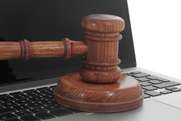 Law gavel on a computer keyboard