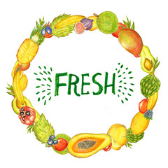 Raster cute fruit frame augmented with a hand written inscription. Food and healthy lifestyle themes, design element, printed goods.