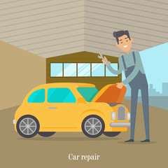 Man repair car. Car service illustration in flat style