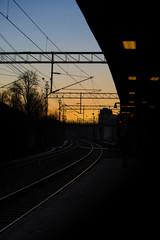 Railway in sunset.