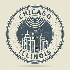 Grunge rubber stamp or label with text Chicago, Illinois