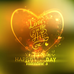 Valentine s Day Card With Hearts, Lights And Blurs On Golden Green Background