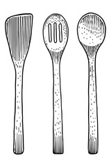 Fork, spoon, wood, bamboo, tool, utensil