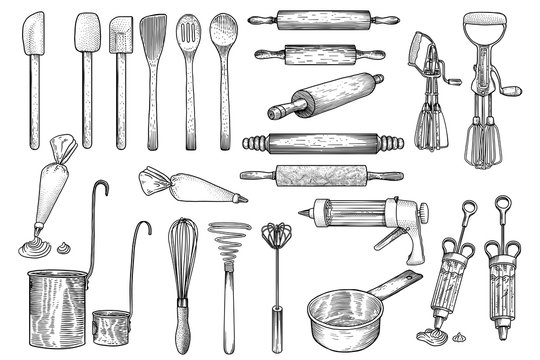 Kitchen, tool, utensil, vector, drawing, engraving, illustration, set, collection